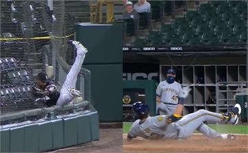左外野手追球「掛網」 葉立奇跑出幸運場內全壘打