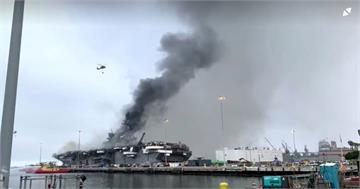 美海軍兩棲攻擊艦 延燒第二天多人傷