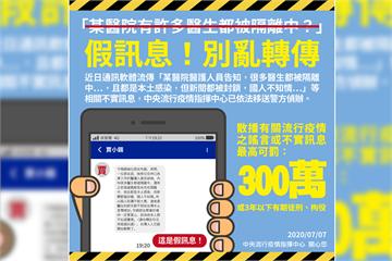 快新聞/網傳某醫院多名醫師被隔離 指揮中心駁假訊息:已依法送辦