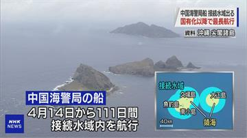 創紀錄! 中國海警船連111天繞行釣魚台海域
