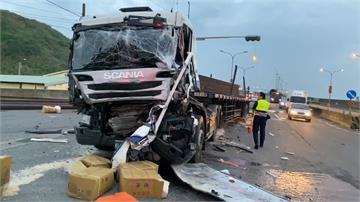 台61線聯結車追撞2車 3人受傷送醫