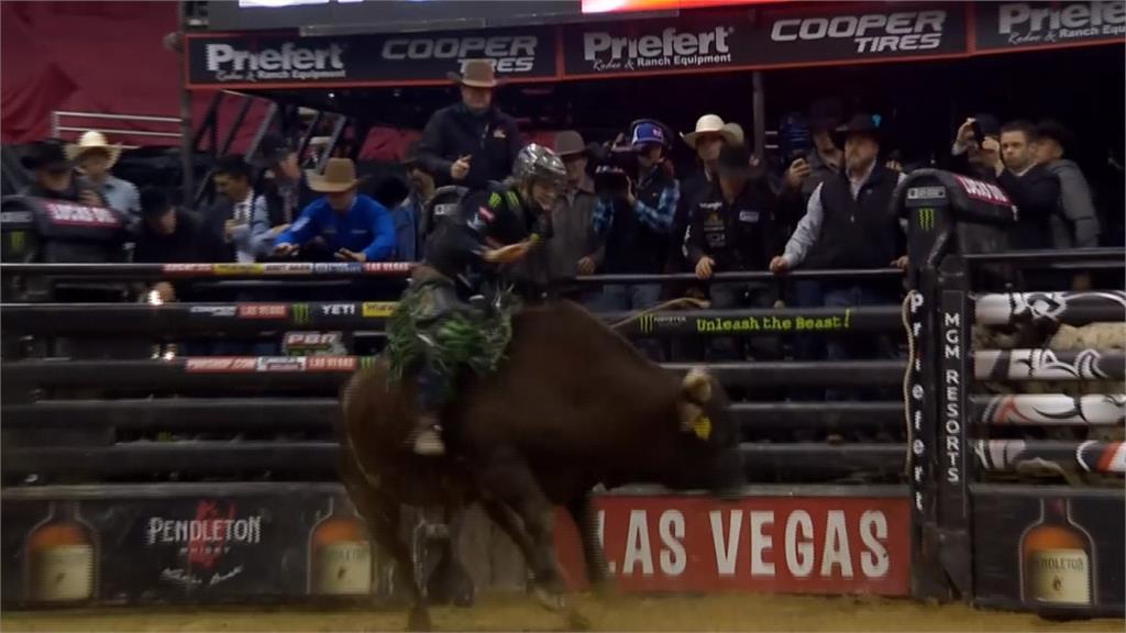 美國騎野牛大賽 牛仔罕見被甩上圍欄