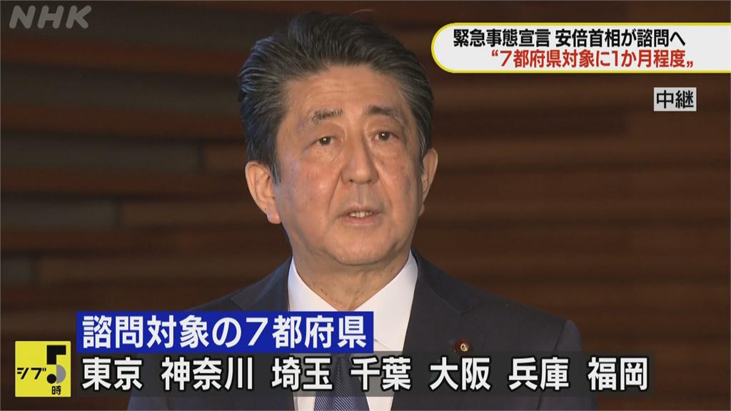 快新聞/安倍決定明宣布緊急事態宣言! 東京、大阪等7地全納入「為期一個月」
