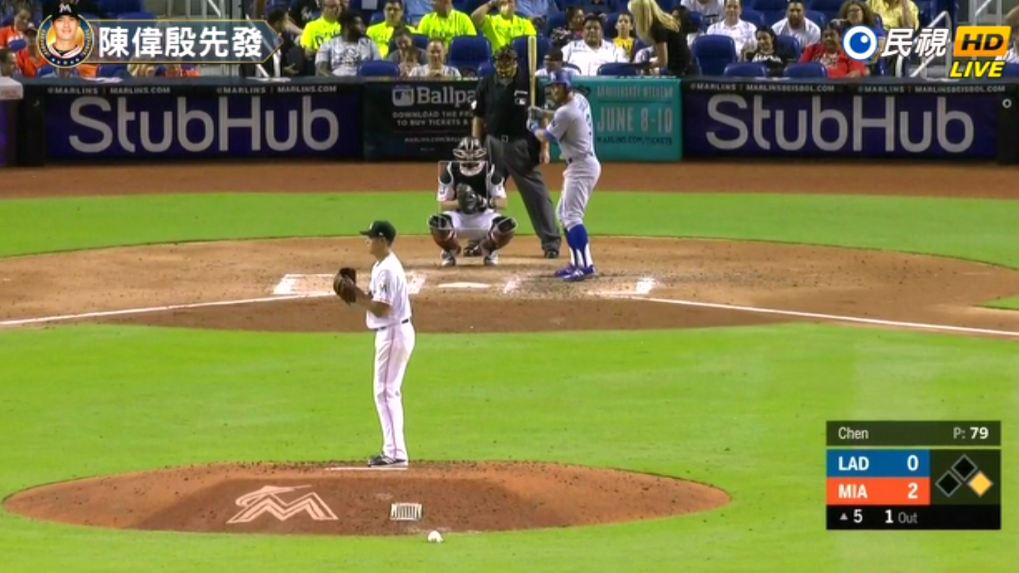 MLB/陳偉殷4.1局無失分退場 馬林魚4:2勝道奇