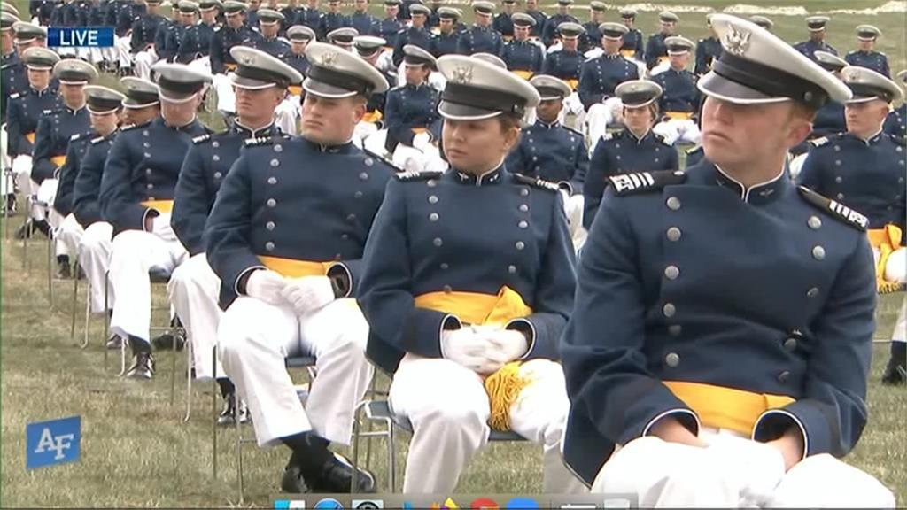 美國空軍官校提前畢業典禮 畢業生社交距離做好做滿