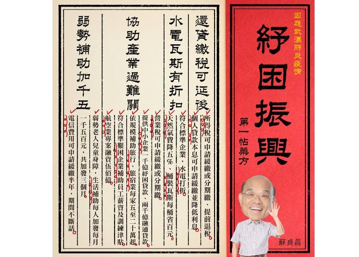 快新聞/紓困第一帖藥方來了!蘇貞昌祭4大措施「調好國家經濟體質」