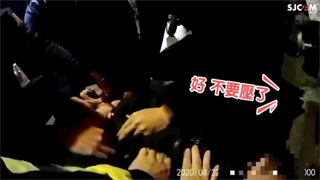 毒蟲闖紅燈拒奮力抵抗 十多名警力壓制逮捕