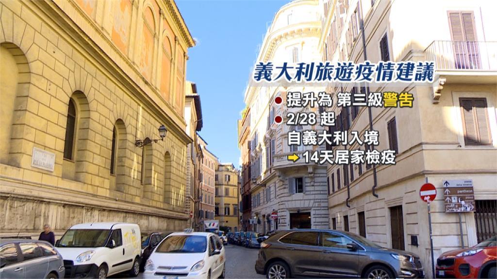 義大利旅遊第三級警告 2/28起入境須居家檢疫