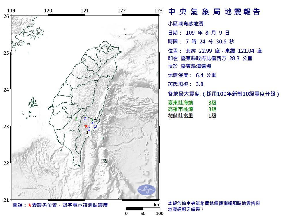 快新聞/台東海端規模3.8地震 最大震度台東、高雄3級