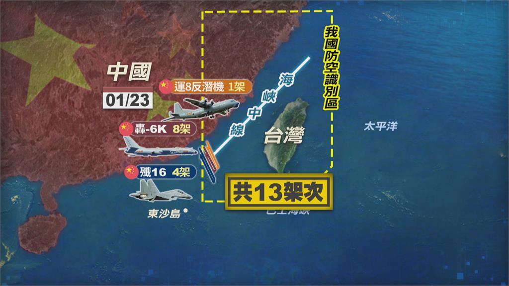 解放軍13架次大舉擾台 美中強權對壘南海