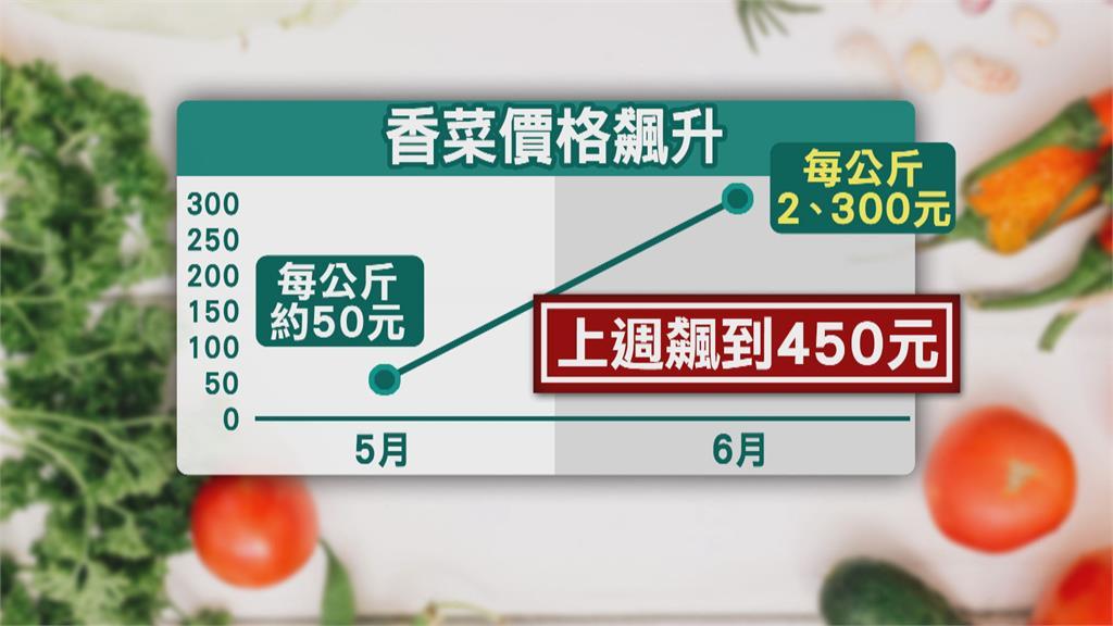 大雨狂炸菜價飆!香菜1公斤要價逾200元 有店家乾脆不放