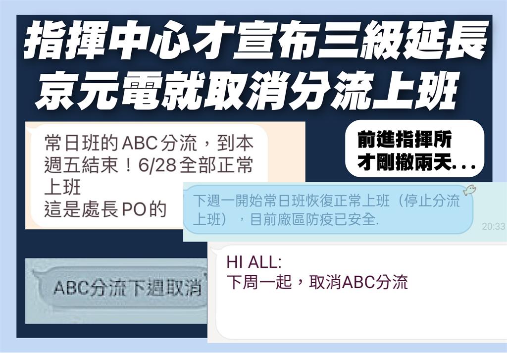 快新聞/京元電無視三級警戒!「6/28取消分流」 內部訊息曝光
