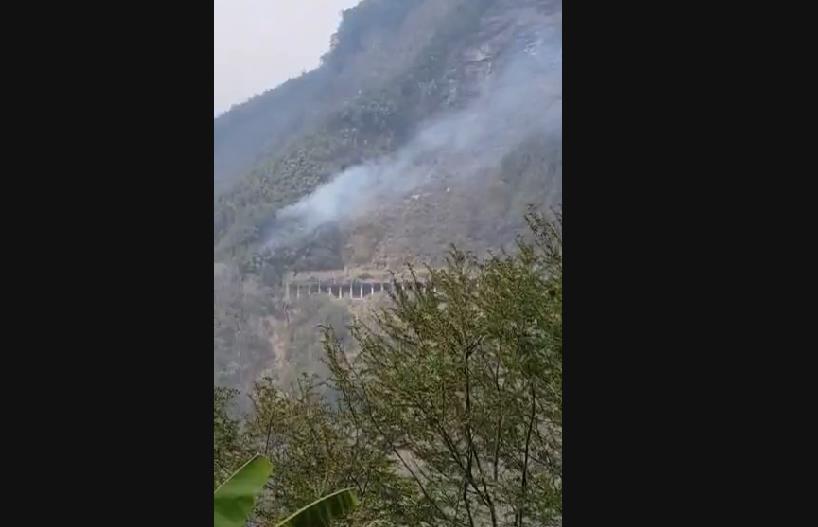 快新聞/阿里山森林大火剛滅 達邦公路邊坡下午再爆火警 救火人員全力灌救