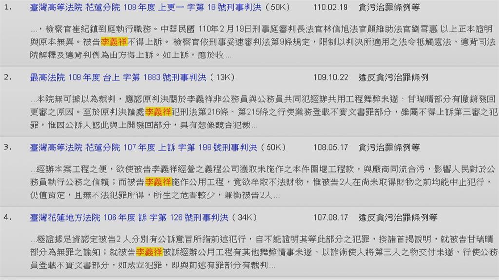花蓮縣府未提報 高聲中央要負責 李義祥前科多 5年仍拿下19標案