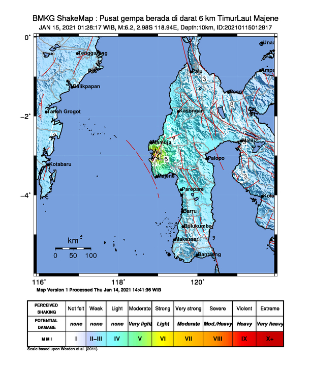 快新聞/印尼西蘇拉威西省規模6.2強震 至少3死24傷百人撤