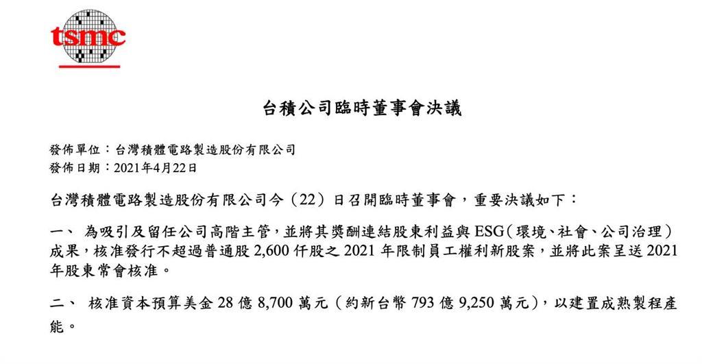 快看!台積電送市值15億元2600張「限制型股票」條件曝光!
