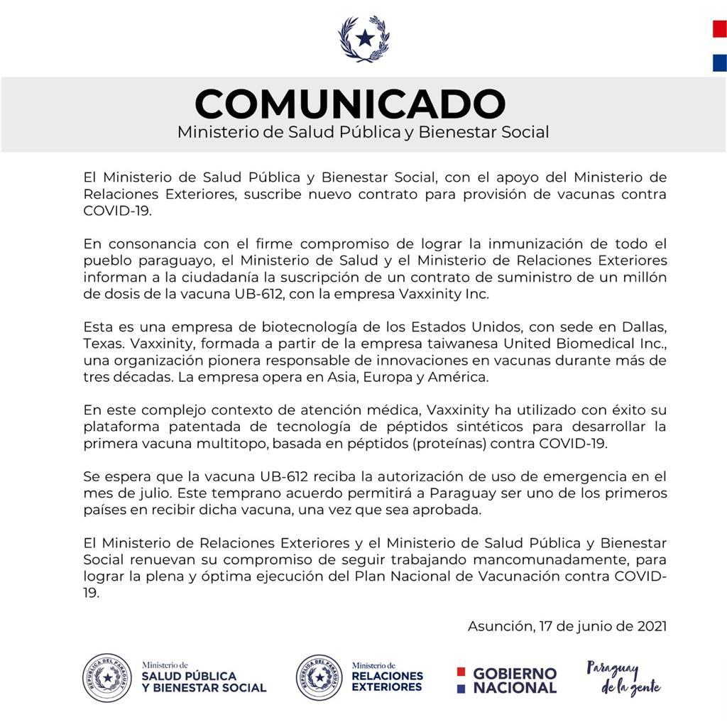 快新聞/巴拉圭預購100萬劑聯亞疫苗就等EUA通過 外交部:將提供必要的協助