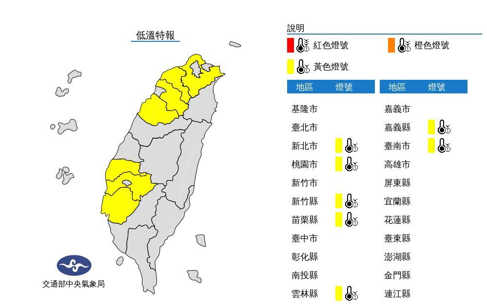 快新聞/氣象局發布低溫特報 7縣市亮黃燈「低溫探10 °C以下」