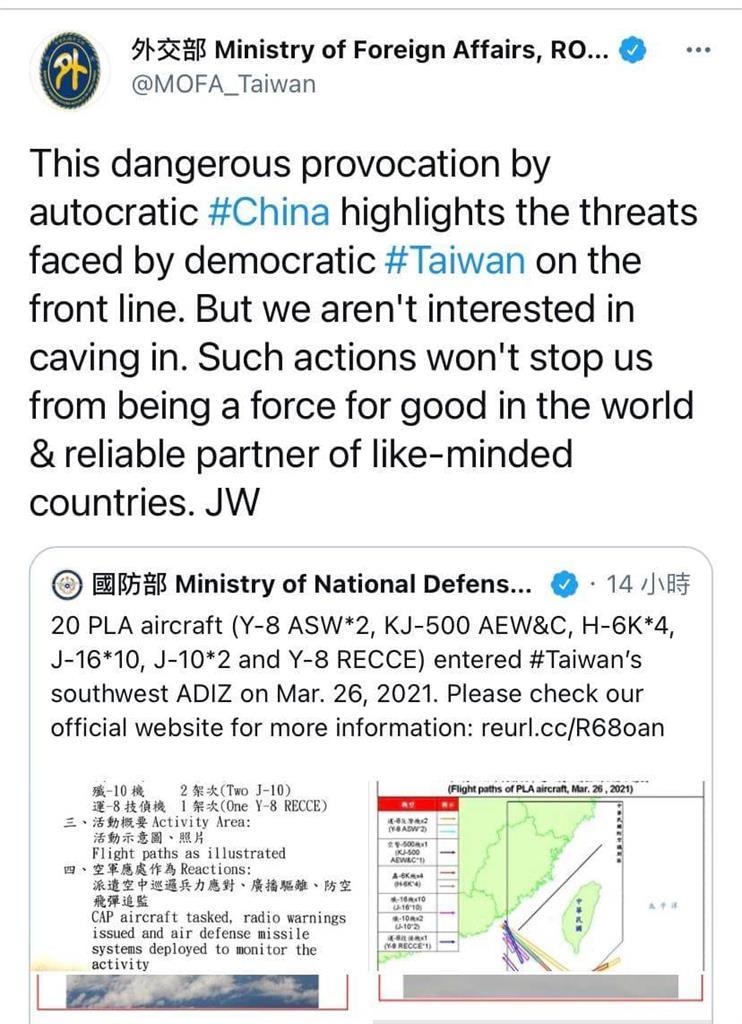 快新聞/中國一口氣派20架軍機擾台 吳釗燮怒嗆:我們不會屈服!