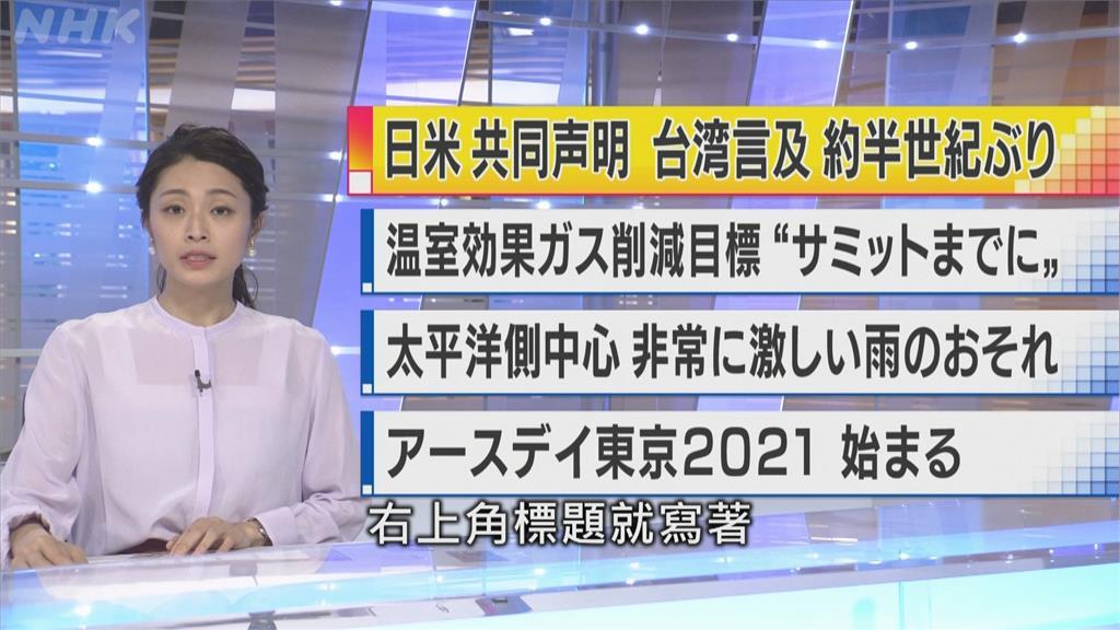 美日聲明再提台灣 日媒解讀「美日聯手牽制中」