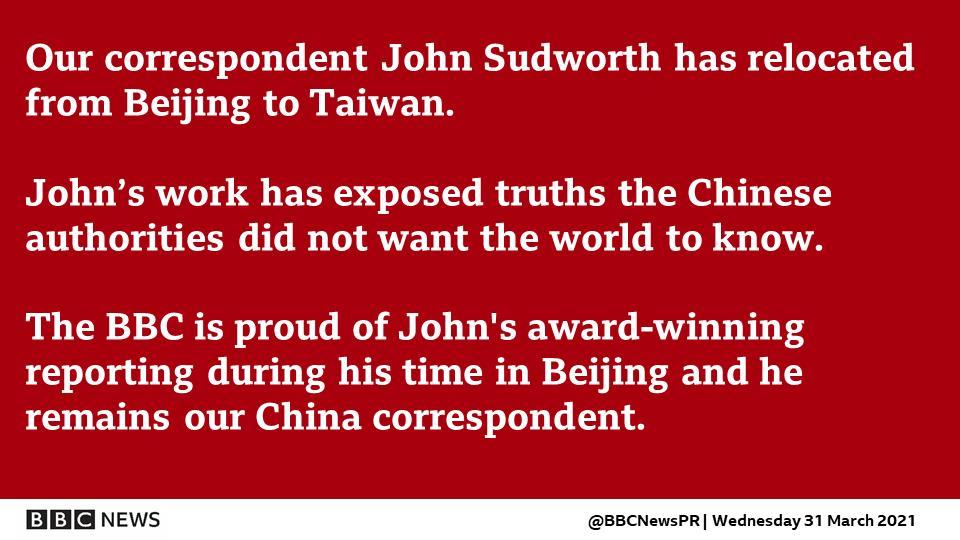 快新聞/BBC駐北京記者改派台灣 中國外交部:他不辭而別