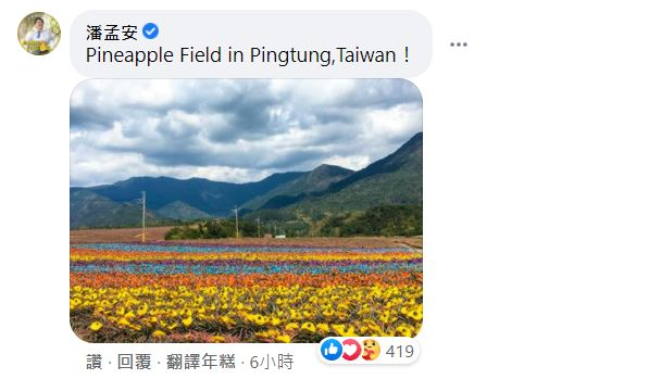 快新聞/好萊塢男星再徵台灣風景照 陳其邁推西子灣夕照、潘孟安曬彩色鳳梨田