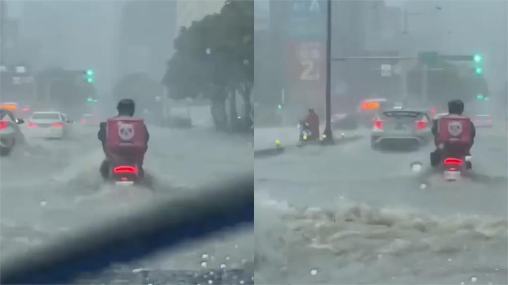 台北直直撞!外送員「車被淹一半」照騎 網致敬:真的是使命必達