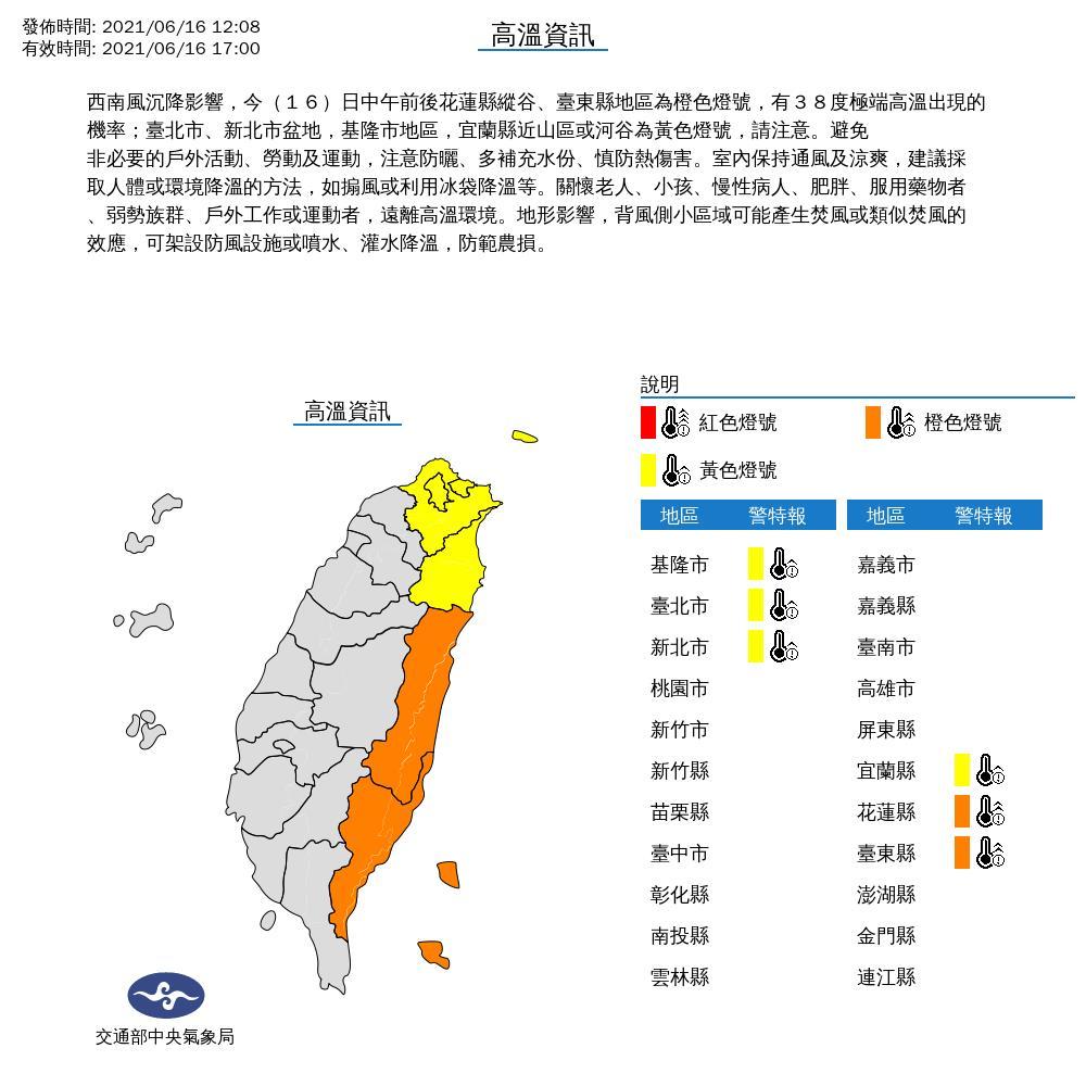 快新聞/好熱! 全台6縣市防高溫 花東地區上看38度