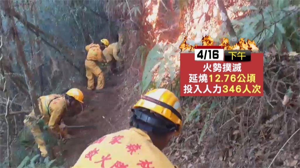 魚池尖山燒5天終於滅火 森林慘剩枯黃禿地