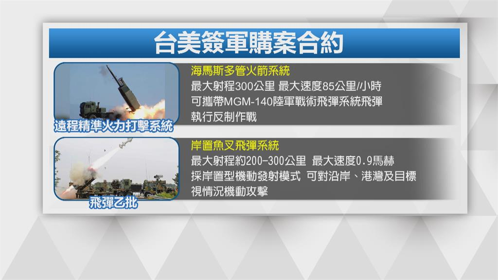 海馬斯多管火箭、岸置魚叉飛彈要來了?台美簽500億軍售合約