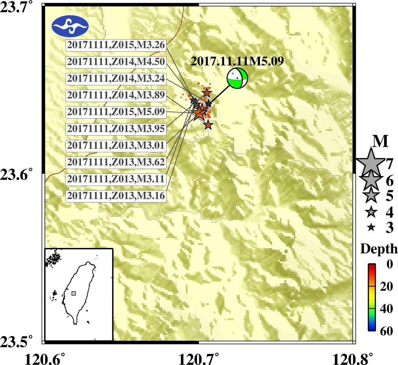 20171111 地震震央分布圖