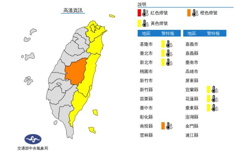 快新聞/北北基等7縣市高溫特報 中南部有短暫陣雨