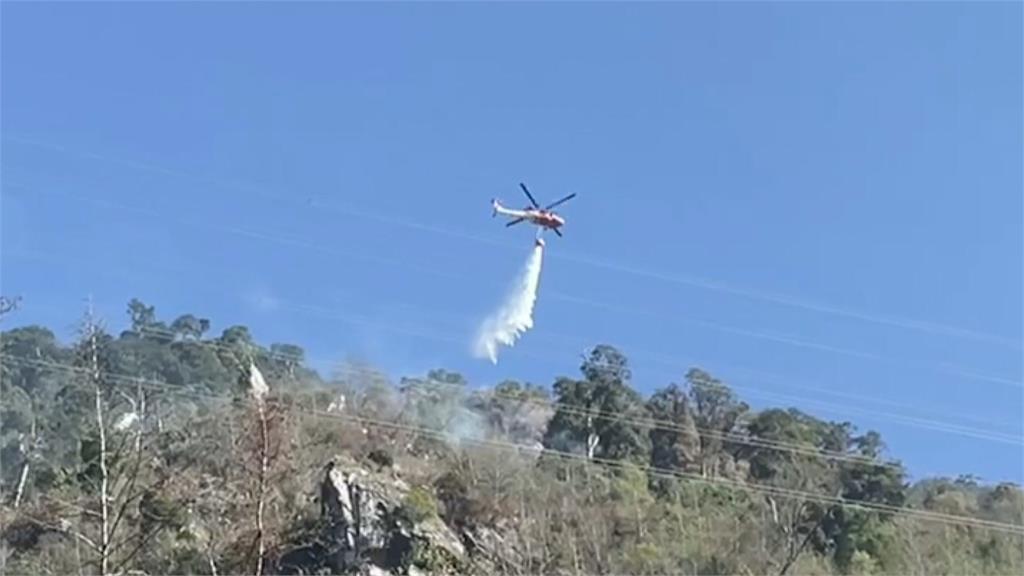 中橫便道林班地起火 空勤直升機空中灑水