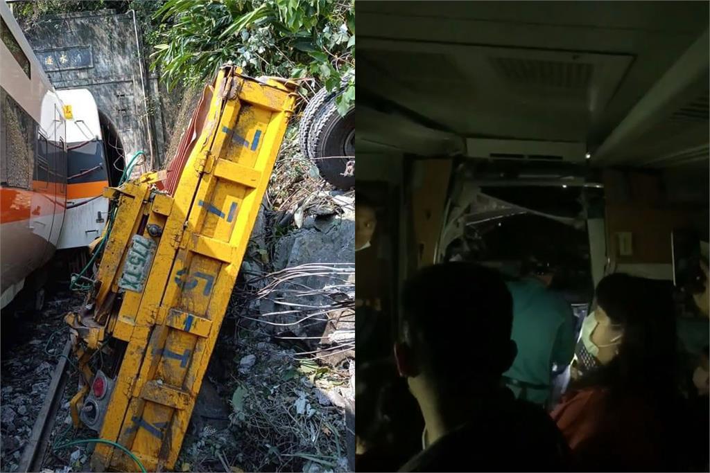 快新聞/太魯閣號遭工程車砸中出軌 民眾驚魂爬列車車頂逃生