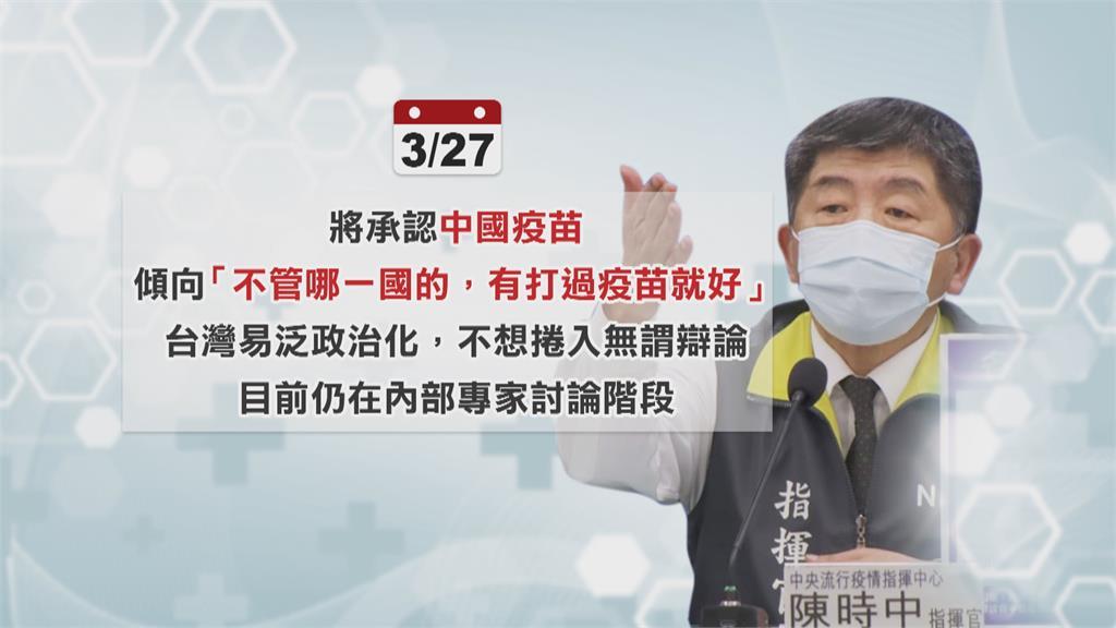 將承認中國疫苗? 陳時中:以便放寬邊境管制